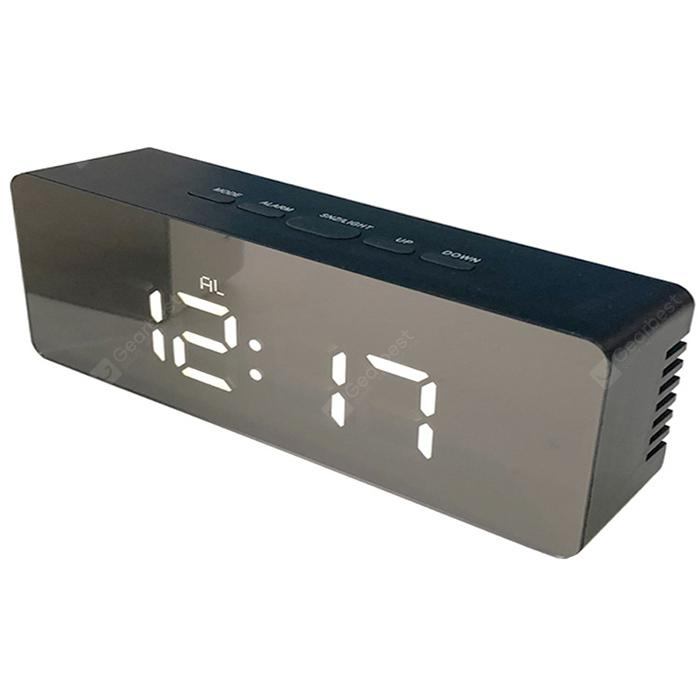 Rectangular Digital Alarm Clock LED Screen Desk Hanging Watch Night Light Makeup Mirror - BLACK 1PC