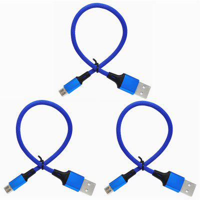 25cm Linen Fabric Micro USB Data Cable 3pcs