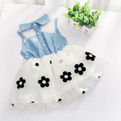 Cute Little Girl Flower Fashionable Lace Denim Dress