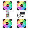 RGB Desktop Computer Mute Cooling Fan 4pcs with Remote - WHITE
