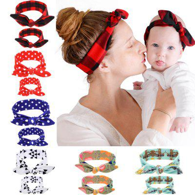 KT048 Printed Parent-child Rabbit Ear Hair Band 2pcs