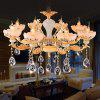 ZUNGE Z231 European 8 Bedroom Restaurant Zinc Alloy Faux Jade Crystal Chandelier - GOLD