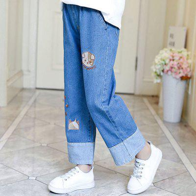 KH0123 Girls Fashion Embroidered Wide-legged Jeans