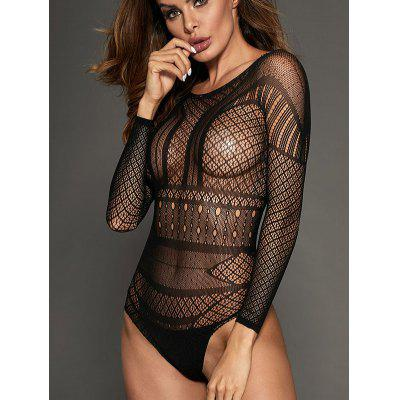 LC32324 - 2 Round Neck Patterned Long Sleeve Bodysuit