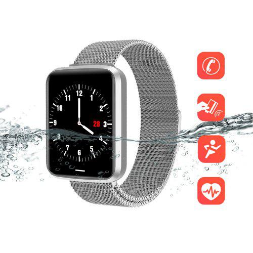 Gearbest Alfawise H19 RFID Sports Smartwatch Fitness Tracker - Silver Heart Rate Blood Pressure Oxygen Monitor IP67 Waterproof 1.3 inch Color Screen Music Control Remote Shutter