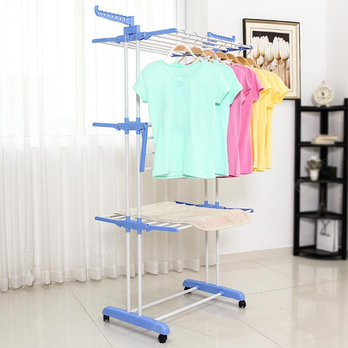 Indoor / Outdoor Floor Airfoil Three-layer Folding Drying Rack - Silk Blue 4