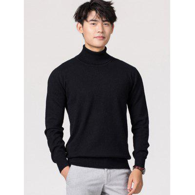 Turtleneck Pullover Long Sleeve Woollen Sweater for Men