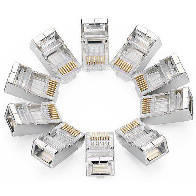 Connettore per cavo Ethernet modulare 8P8C Connettore per cavo RJ45 Cat 6 placcato a crimpare dorato Cat. 10pcs