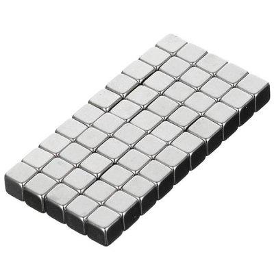 N50 NdFeB Square Strong Magnet 50PCS - Silver