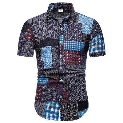 ZXFHZS Mens Fashion Short Sleeve Loose Fit Casual Round Neck Contrast Color T Shirt