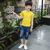 KH0208 Summer Two-Piece Boy Short Sleeve Jeans - BRIGHT YELLOW