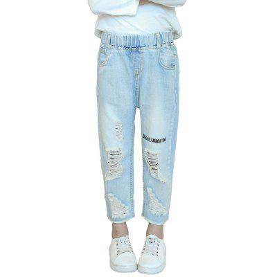 KH0126 Letter Holes Cropped Pants Fashion Girls Jeans