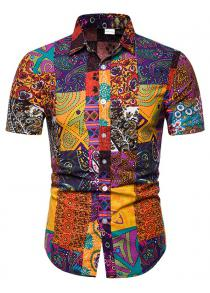 a768a4df1f1ec 58% OFF 1302 - TC19 Men s Cotton Linen Short-sleeved Printed Shirt