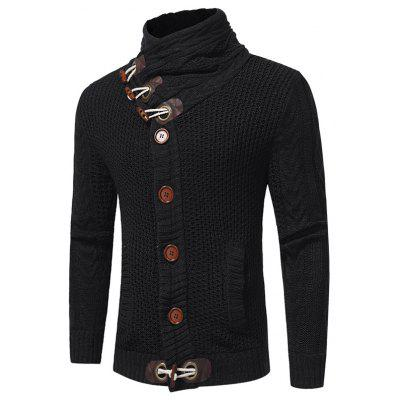 S1603A - 7756 Men Fashion Horn Buttons Thick Wool Twisted Stand Collar Sweater