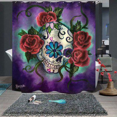 Rose Skull Fine Shower Curtain