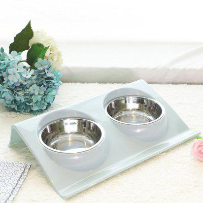 HanHanLeYuan Stainless Steel Food Double Bowl for Feeding Pet
