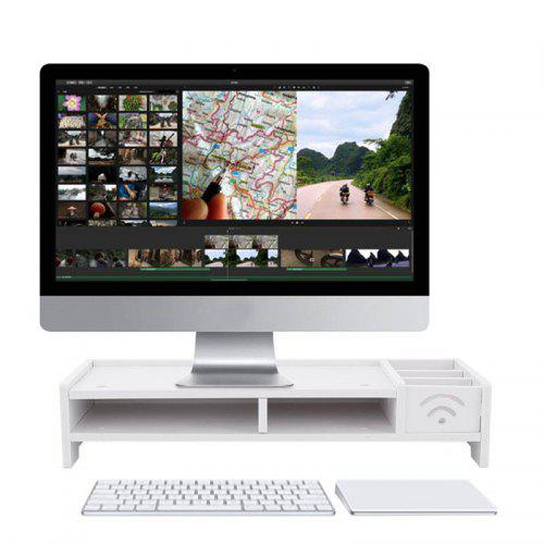 Gearbest Multi-function Computer Screen Riser Wood Shelf Plinth Strong Laptop Stand Desk Holder - White