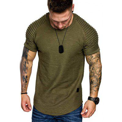 Shoulder Pleated Design Round Neck Short Sleeve T-shirt