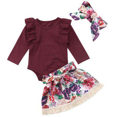 FUERJIA FT1602 Girls Cotton Small Flying Sleeves Long-sleeved Dress Laced Floral Fringed Short Skirt Hair Band Three-piece
