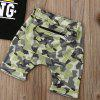 FT1759 Ragazzi Crown King Letter Stampa Short Sleeve + Camouflage Print Personality Pocket Zipper Shorts - NERO