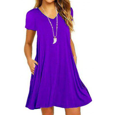Ladies Solid Color Dress V-neck Pocket