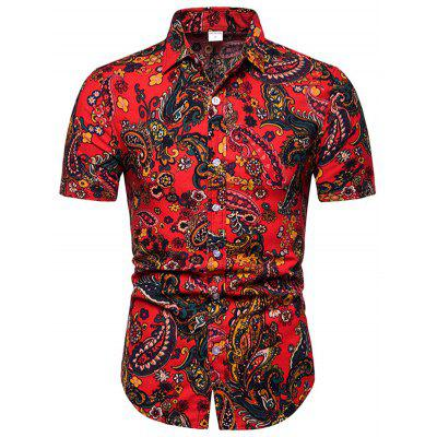 SH11 Fashion Floral Ethnic Style Short Sleeve Shirt for Men