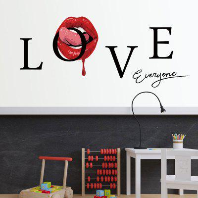 Y1591 Creative Love Red Lips English Wall Sticker