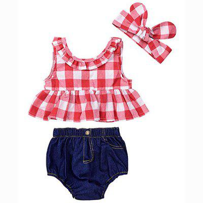 12 - YA114 Baby Plaid Shirt Denim Shorts Headband Three-piece