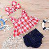 12 - YA114 Baby Plaid Camisa Denim Shorts Diadema de tres piezas - MULTICOLOR-A