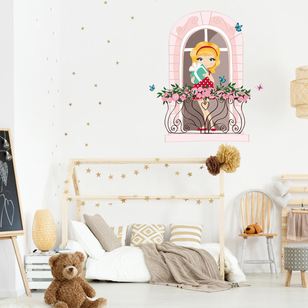 KM223 Cute Girl Bedroom Background Decorative Wall Sticker