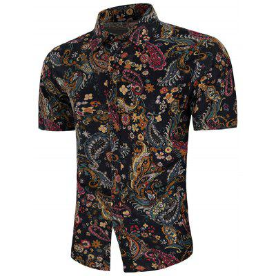 S1107 - C603 Male Celebrity Style Short-sleeved Printed Linen Shirt