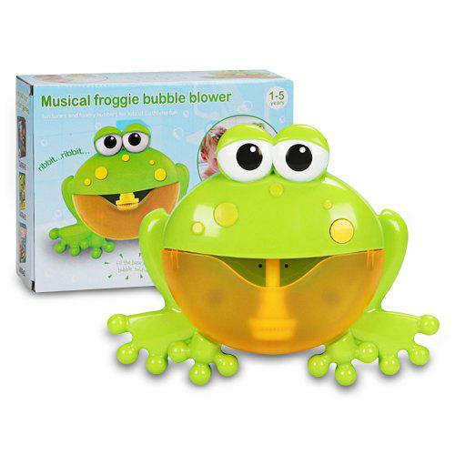 Frog Shape Spit Bubble Machine Bath Toy with Music