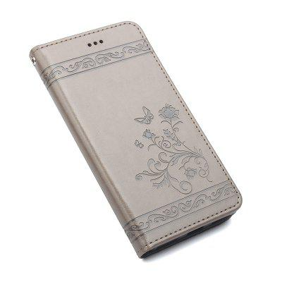 Card Slot Design Silicone Embossed Flip Phone Case for Samsung Galaxy A7