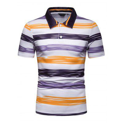 Men Short Sleeve Stripe Slim Lapel Casual T-Shirt