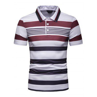 Men Contrast Stripe Slim Lapel Casual Short Sleeve T-shirt