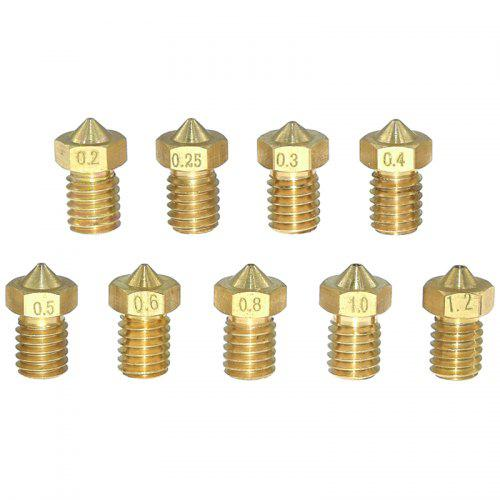 Gocomma V5 V6 Brass Nozzle 3D Printer Nozzle 1.75 Mm 0.2 - 1.2mm 9PCS