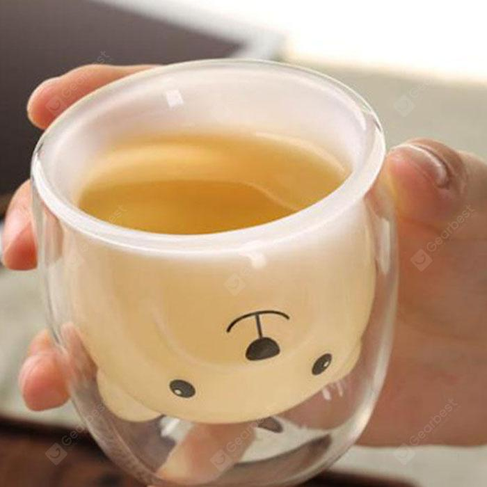 Creative Double Wine Beer Juice Milk Cup - Transparent Bear cup without handle