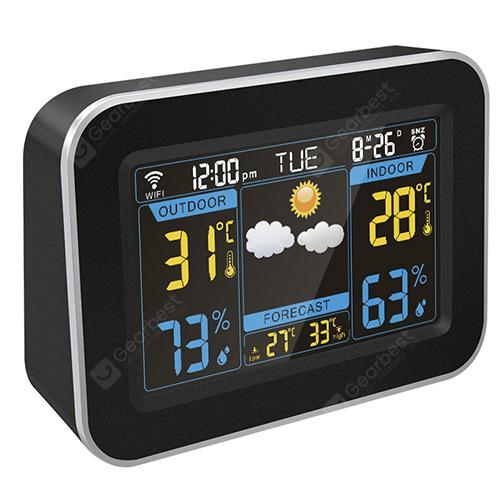 F - 100 WiFi Weather Forecast Clock - Black