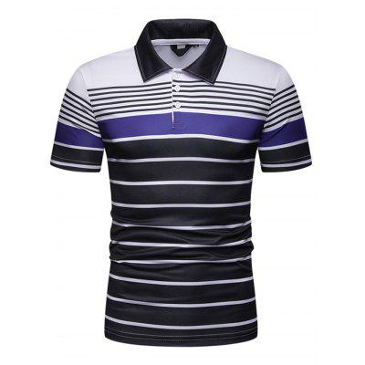 Men Stripe Contrast Slim Lapel Casual T-shirt