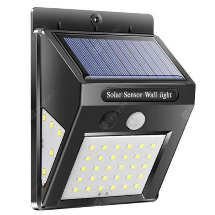 30-LED Solar Body Sensor Waterproof Wall Light - Black
