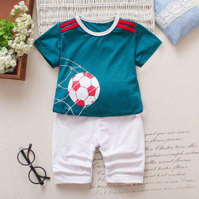 AF - 934 Baby Cotton Cartoon Short Sleeve Top Pants Set
