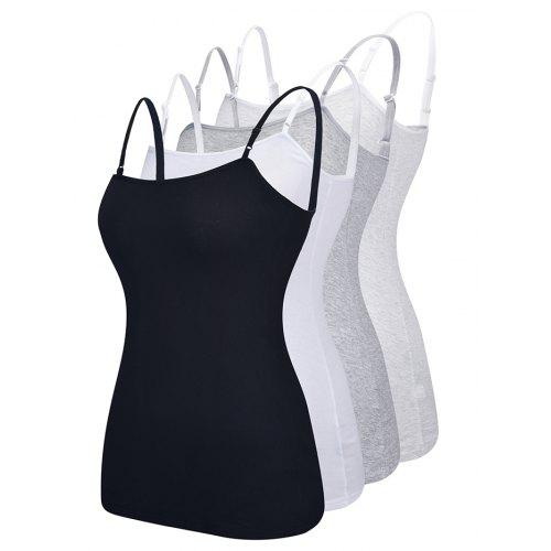 Women's Solid Color Elastic Slim Leisure Vest 4pcs