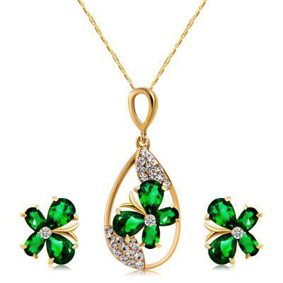 Gold Plated Clover Green Crystal Zircon Necklace Earring Set
