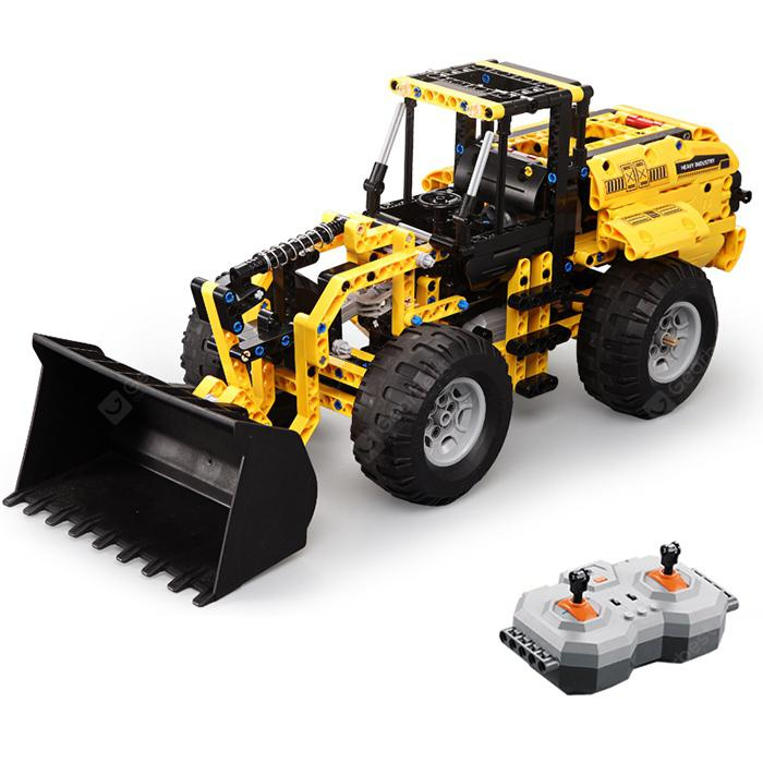 CaDA Building Block Remote Control Crawler Excavator Big Crane Mixer Truck - Yellow