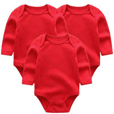 KIDDIEZOOM Solid Color Sleeve Baby Romper 3pcs