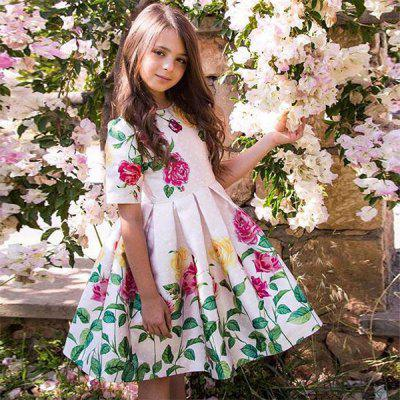 Duokipolla 8901 Girls Dress Rose Positioning Print Pleated Skirt