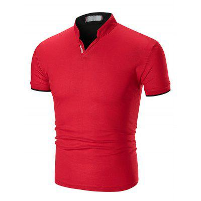 1503A - T22 Male Stand Collar Short-sleeved Large Size T-shirt
