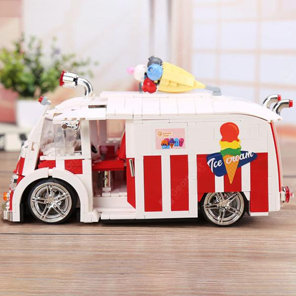 Creative Vivid Funny Ice Cream Truck Building Block Toys - Red