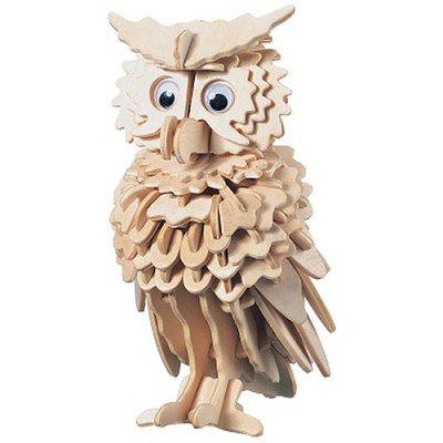 3D Owl Puzzle Jigsaw Wooden Board Kids Toy Shapes Model
