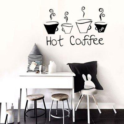 33003 Hot Coffee Personality English Living Room Restaurant Coffee Cup Decoration Wall Stickers